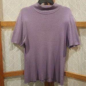 1X Short Sleeve Mock Turtleneck Lavender Purple